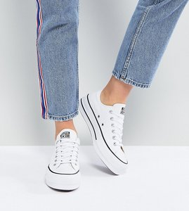 Read more about Converse chuck taylor all star platform ox trainers in white - white