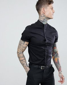 Read more about Asos design skinny fit shirt with lace trim and grandad collar - black