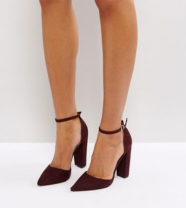 Read more about Asos penalty pointed high heels - burgundy