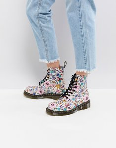 Read more about Dr martens pascal lace up boot with floral print - bone mallow pink w