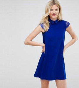 Read more about Asos tall smock dress with pleats and lace details - blue