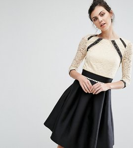 Read more about Little mistress tall 2 in 1 lace skater dress with contrast skirt - multi