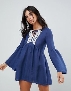 Read more about The english factory ruffle dress with lace trim - dark navy