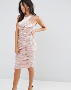 Read more about Ax paris slinky pink ruched dress with a cross over cut out front - pink