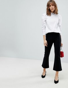Read more about Stradivarius crop kick flare trousers - black