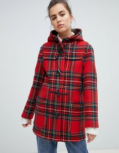 Read more about Gloverall mid length duffle coat in check - red check