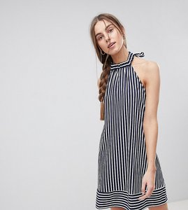 Read more about Asos tall halter swing sundress in cut about stripe - multi