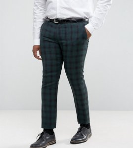 Read more about Harry brown plus skinny fit tartan suit trousers - green