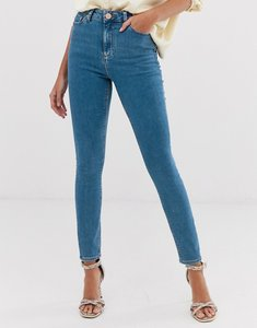 Read more about Asos design ridley high waist skinny jeans in light wash - lily mid wash