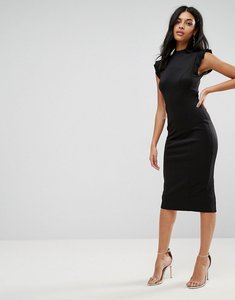 Read more about Asos midi high neck pencil dress with cut out back and shoulder detail - black