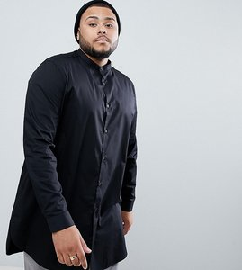 Read more about Asos plus regular fit super longline shirt in black with grandad collar - black