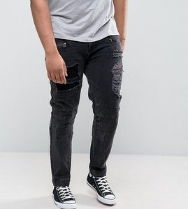 Read more about Asos plus skinny jeans with biker zip and rips details in washed black - washed black