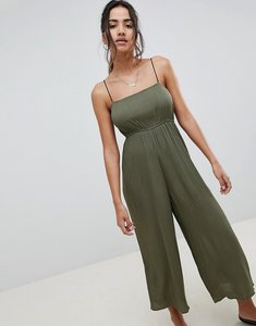 Read more about Asos design pinny jumpsuit in crinkle - khaki