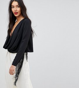 Read more about Asos design tall plunge batwing top with fringe sleeve - black
