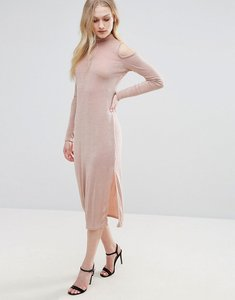 Read more about Glamorous cold shoulder dress with key hole - nude