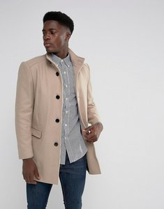 Read more about Selected homme funnel neck wool mix overcoat - sand