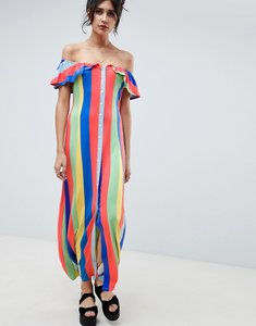 Read more about Asos design off shoulder button through maxi sundress in stripe - rainbow stripe