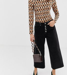 Read more about River island wide leg culottes with button front in black denim