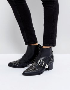 Read more about Raid steph stud detail mid heeled ankle boots - black pu