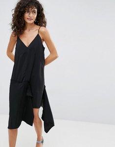 Read more about Asos raw edge asymmetric hem cami dress - black