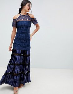 Read more about Bodyfrock cold shoulder lace maxi dress with pleated skirt - navy