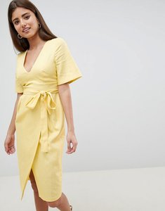 Read more about Asos design linen midi pencil dress with kimono sleeve - lemon