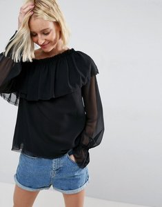 Read more about Asos one shoulder blouse with ruffle - black