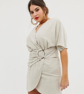 Read more about Asos design curve mini dress in slubby cotton with ring detail
