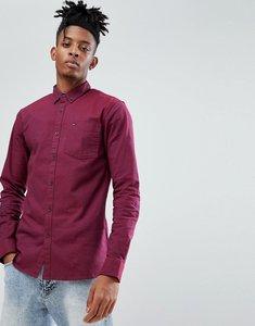 Read more about Tommy hilfiger denim oxford shirt slim fit flag logo in burgundy - burgundy