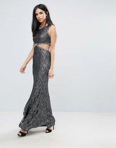 Read more about Forever unique maxi dress with side cut out - grey