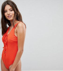 Read more about Wolf whistle textured lace up swimsuit d-f cup - red