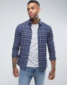 Read more about Asos design skinny check shirt in blue - navy