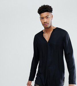 Read more about Asos tall regular fit longline viscose shirt with v neck in black - black