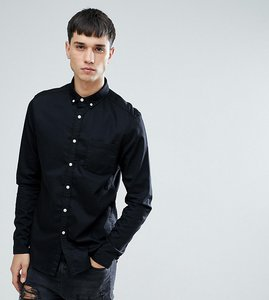Read more about Asos tall slim stretch denim shirt in black - black