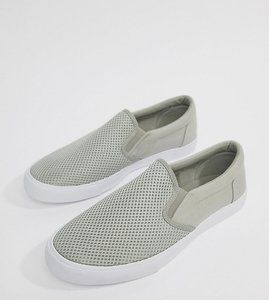 Read more about Asos design wide fit slip on plimsolls in grey mesh - grey