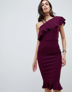 Read more about Girl in mind one shoulder frill midi dress - plum