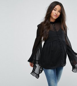 Read more about Asos maternity kimono sleeve blouse in chiffon - black