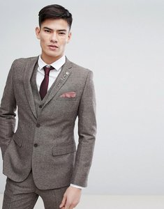 Read more about French connection semi plain donegal slim fit suit jacket - tan