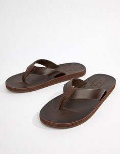 Read more about Abercrombie fitch leather flip flops in brown - brown