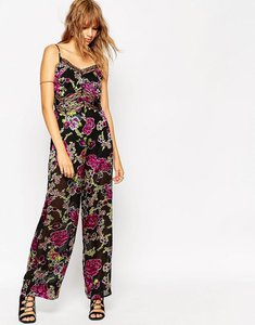 Read more about Asos jumpsuit in floral devore with lace insert - multi