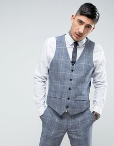 Read more about Harry brown slim fit tweed checked suit waistcoat - blue