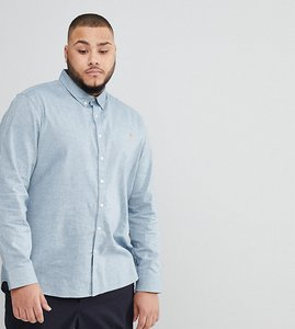 Read more about Farah plus steen slim fit textured oxford shirt in grey - grey