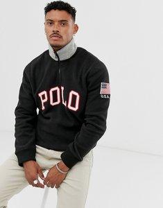 Read more about Polo ralph lauren poler fleece half zip in black with polo logo