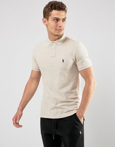 Read more about Polo ralph lauren pique polo slim fit in beige marl - dune tan hthr
