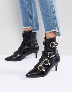 Read more about Carvela sparky pearl detail leather kitten heel ankle boots - black