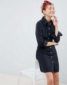 Read more about Asos design denim fitted western shirt dress in washed black - washed black