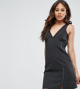 Read more about Missguided tall pinstripe tie shoulder mini dress - black
