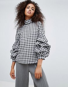 Read more about Unique 21 gingham high neck blouse with frill detail - black and white