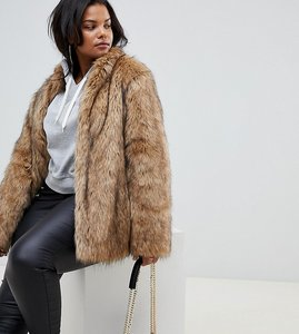 Read more about Asos design curve stand collar faux fur coat - brown