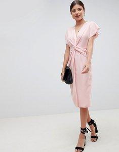 Read more about Asos design twist midi dress with kimono sleeve - nude